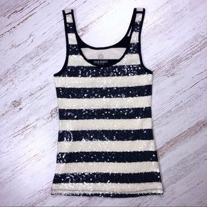 Old Navy Striped Sequin Tank Top S Navy Blue